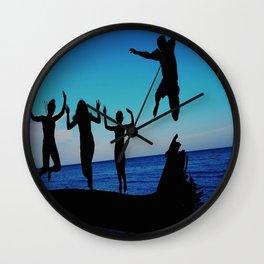 Brownie's beach silhouette Wall Clock