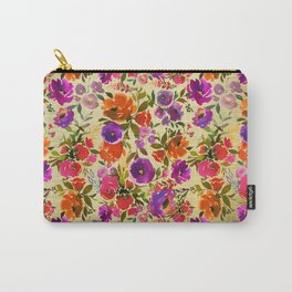 Modern hand painted pink orange purple watercolor floral Carry-All Pouch