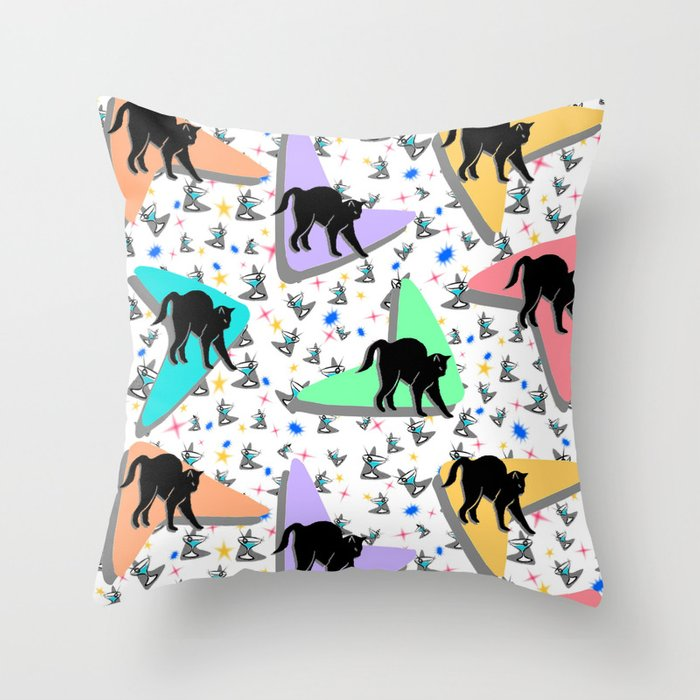 Retro Kitty Throw Pillow