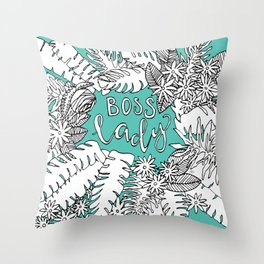 Boss Lady  |  Botanical in Turquoise Throw Pillow