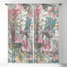 FLORAL AND BIRDS XXII Sheer Curtain