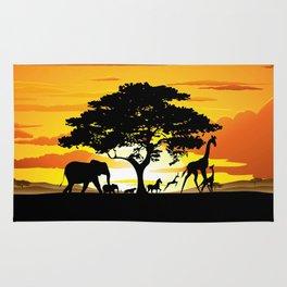 Wild Animals on African Savanna Sunset  Rug