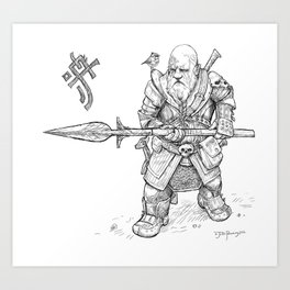Mountain-Dwarf Forest Warden Art Print