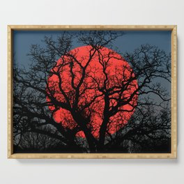 Tree Blood Moon Midnight Blue Sky Cottage Decor Art A474 Serving Tray