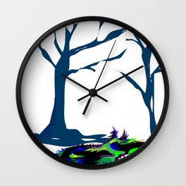 """""""Wolfdog"""" Paulette Lust Original, Contemporary, Whimsical, Colorful Art Wall Clock"""