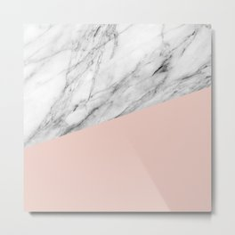 Marble and pale dogwood color Metal Print