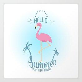 Hello Summer Flamingo Art Print