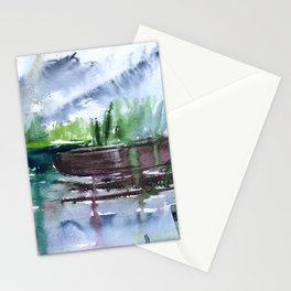 Boats in Nida, watercolor Stationery Cards