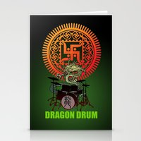 drum Stationery Cards featuring Dragon drum by kuuma