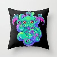 cthulhu Throw Pillows featuring Cthulhu by Gunkiss