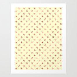 Crimson Red on Cream Yellow Snowflakes Art Print