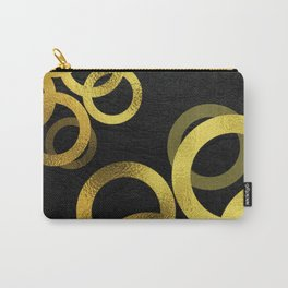 Gold Circles on Black Background Minimalist Design Carry-All Pouch