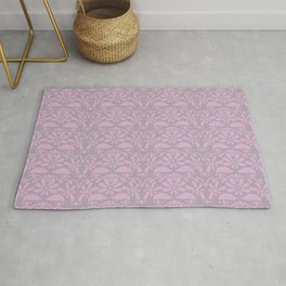 floral lace ruffle seamless repeat pattern in party pink and dream of cotton Rug