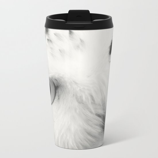 owl chouette bird white Metal Travel Mug