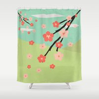 cherry blossoms Shower Curtains featuring cherry blossoms by Dot Handmade