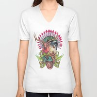 totem V-neck T-shirts featuring Totem by RAZTINE
