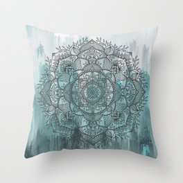 Growth Mandala - Blue Abstract Throw Pillow