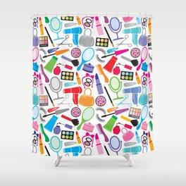 make up collection background (seamless pattern, beauty and makeup design) Shower Curtain