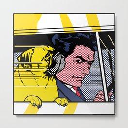 Pug In The Car Metal Print