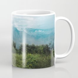 Lush green and blue views over the mountain range and valleys of Guatemala Coffee Mug