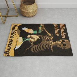 Absinthe Kills, Each Glass is Poison 1950 Hungarian Communist anti absinthe alcohol vintage poster Rug