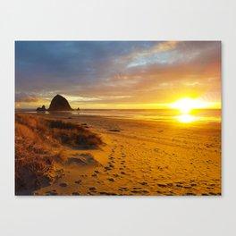 Cannon Beach Oregon at Sunset Haystack Rock Canvas Print