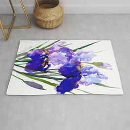 Garden Irises, Blue Purple Floral Design Rug