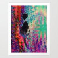 kit king Art Prints featuring Kit Kat by aeolia