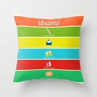 cabin pressure Throw Pillows featuring Cabin Pressure: Shut Your Face! by robin