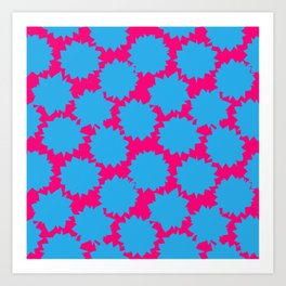 Pop Art Starburst // Blue & Pink Art Print