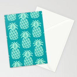 Retro Mid Century Modern Pineapple Pattern Mint Green and Teal 2 Stationery Cards