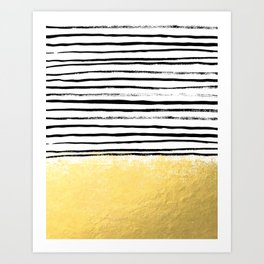 Blaire - Brushed Gold Stripes - black and gold, gold trend, gold phone case, gold cell case Art Print