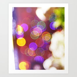 Bright and Blurred City Lights Art Print