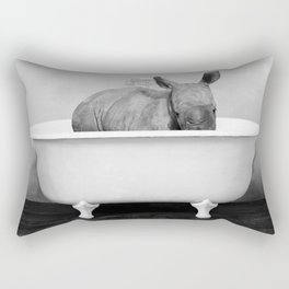 Baby Rhino in a Vintage Bathtub (bw) Rectangular Pillow