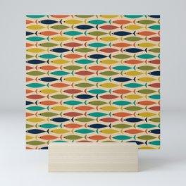 Midcentury Modern Multicolor Fish Pattern 2 in Olive, Mustard, Orange, Teal, Mini Art Print