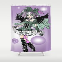 lolita Shower Curtains featuring Gothic Lolita  by tiny baubles and bling