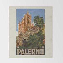 vintage Palermo Sicily Italian travel ad Throw Blanket