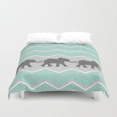 Three Elephants - Teal and White Chevron on Grey Duvet Cover