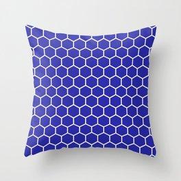 Honeycomb (White & Navy Blue Pattern) Throw Pillow