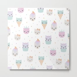 Kawaii breeze summer kitty cupcake cats and snow one ice cream kittens Metal Print