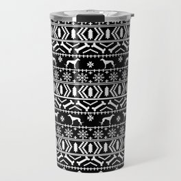 Greyhound fair isle christmas holidays pattern black and white dog gifts Travel Mug