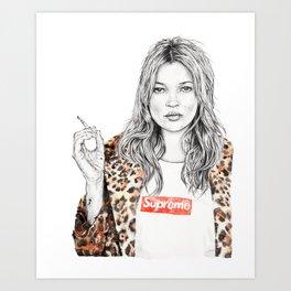 Kate Moss Supreme Leopard Print Portrait Art Print