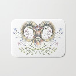 Ram's watercolor portrait with wildflowers ornament. Bath Mat