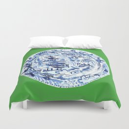CHINOISERIE PLATE ON EMERALD Duvet Cover