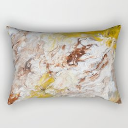 Brown, White and Yellow Abstract Art Rectangular Pillow