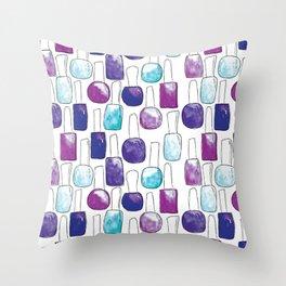 Nail Polish | Blue and Purple Pattern Throw Pillow