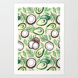 Coconuts & Avocados Art Print
