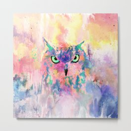 Watercolor eagle owl abstract paint Metal Print