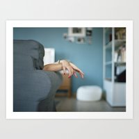 Red Nails Hands in Tension Art Print