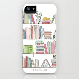 Bookshelf with cats - Watercolor illustration iPhone Case